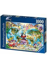 Puzzle Carte du Monde Disney 1000 Pièces Ravensburger 15785