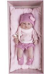 Muñeca Recién Nacida 42 cm. Vestido Rosa y Cojín Berbesa 5115R