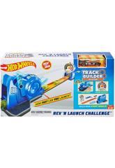 Hot Wheels- Sfida Turbo Lanciatore Playset Track Builder per Macchinine. Mattel FLL02