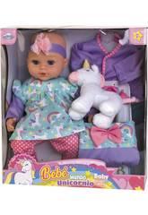 Bebé 40 cm. con Unicornio y Accesorios