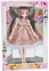 Muñeca Estilo Japón 29 cm. Vestido Rosa Lunares