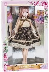 Bambola Stile Giappone 29 cm. Gonna Nera e Fiori