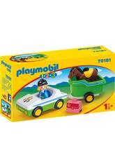 Playmobil 1,2,3 Voiture avec Remorque du Cheval Playmobil 70181