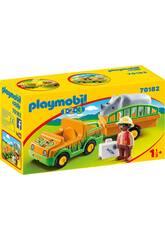 Playmobil 1,2,3 Vehiculo del Zoo con Rinoceronte Playmobil 70182