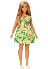 Barbie Fashioniste Vestito Giallo Fiori Mattel FXL59