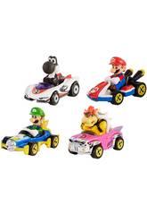 Hot Wheels Pack 4 Veículos Mario Kart Mattel GLN53