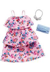 Completo Barbie Moda Look Vestito Fiori Mattel GHW80