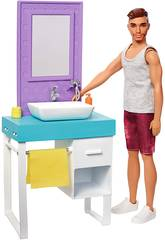 Barbie Pupazzo Ken e Mobilio Toilette Mattel FYK53
