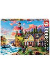 Puzzle 3000 Faro Vicino all'Oceano Educa 18507