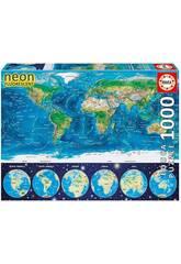 Puzzle 1000 Carte Du Monde Néon Educa 16760