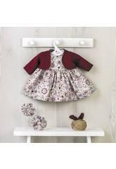 Vestito Bambola 43 cm. Fiori Bordeaux con Giacca Asivil 3354800