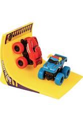 Monster Truck Vehículos Acróbatas con Rampa Rojo y Azul