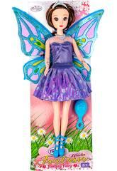Muñeca Hada 30 cm. Vestido Violeta y Plateado