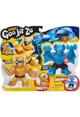 Heroes of Goo Jit Zu Pack 2 Figurines Battaxe Vs Pantaro Bandai 41052