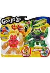 Heroes of Goo Jit Zu Pack 2 Figuras Rock Jaw Vs. Golden Blazagon Bandai 41053