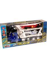 Camion Porte-voitures Bleu avec 2 Formule 1