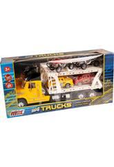 Camión Portacoches Amarillo Con 2 Camionetas y 2 Quads