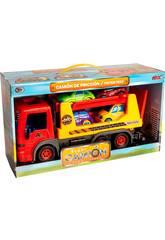 Camión Infantil Naranja con 4 Coches