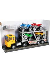 Camion de Friction Jaune 29 cm. Porte-véhicules avec 4 Quads
