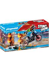 Playmobil Stuntshow Motorbike avec mur de feu 70553