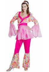 Disfraz Hippie Flower Power Mujer Talla L