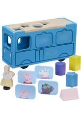 Peppa Pig Autobús de Madera con Figura y Formas Bandai CO07222