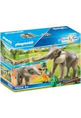 Playmobil Recinto Exterior de Elefantes 70324