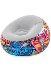 Aufblasbarer Sessel Graffiti 112x112x66 cm. Bestway 75075