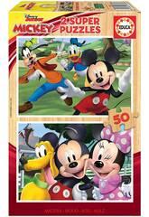 Casse-tête en bois 2x50 Mickey & Friends Educa 18880