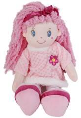 Boneca de Pano 45 cm. Rosa Flor