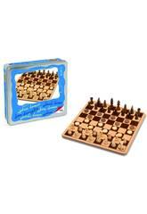 Ajedrez damas madera en caja metal