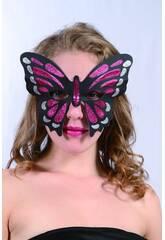 Maschera Glitter Farfalla granate