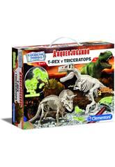 Arqueospielend T-Rex und Triceratops Phosphoreszierend