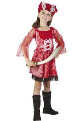Maschera Pirata Rossa Bambina Taglia S