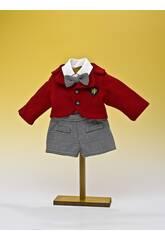 Schwarz-Check-Hosen-Set und rote Jacke