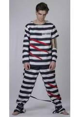 Déguisement Prisonnier Homme Rayures Taille XL