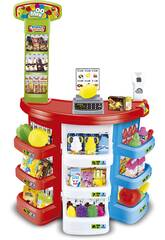 Supermarkt mit Zubehör 38 Teile und elektronische Registrierkasse 80x50cm