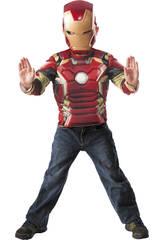 Disfraz Iron Man Pecho Musculos y Mascara Talla M