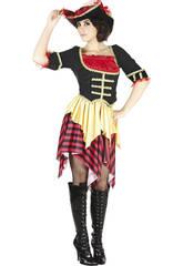 Kostüm Gestreifte Seeräuberin Frau Größe L