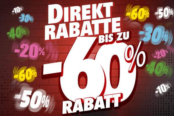 Direkten Rabatten von 10% bis 60% in einer Auswahl von Artikeln